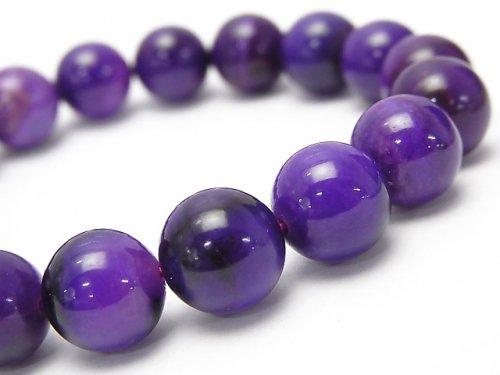 紫色のスギライトの丸玉ブレスレット